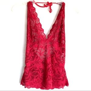 Fredrick's Of Hollywood Lace Halter Top